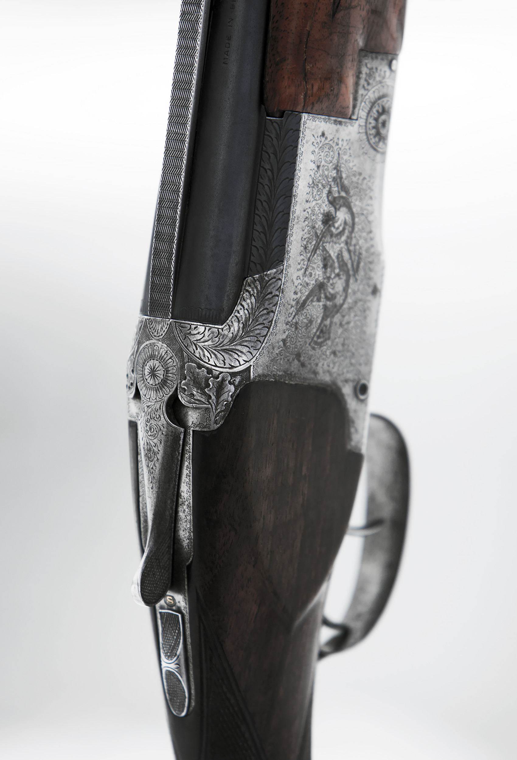 Detail of a Browning Superpose shotgun with double triggers