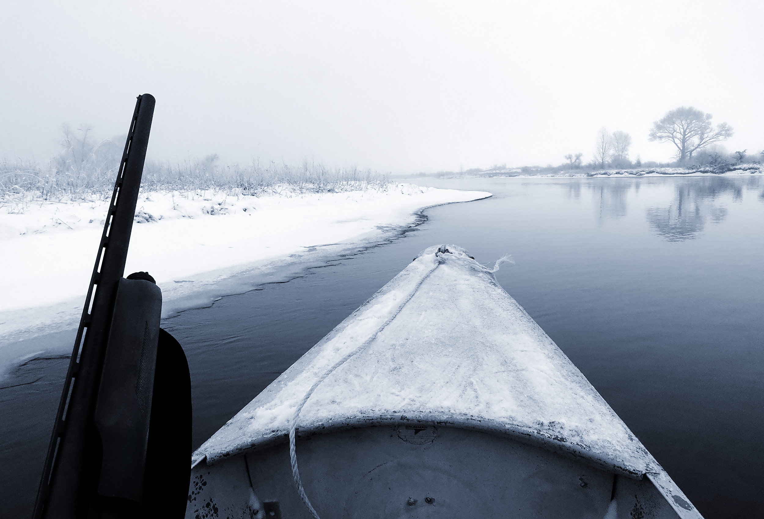 Drifting in a Grumman Sports Canoe during a winter duck hunt