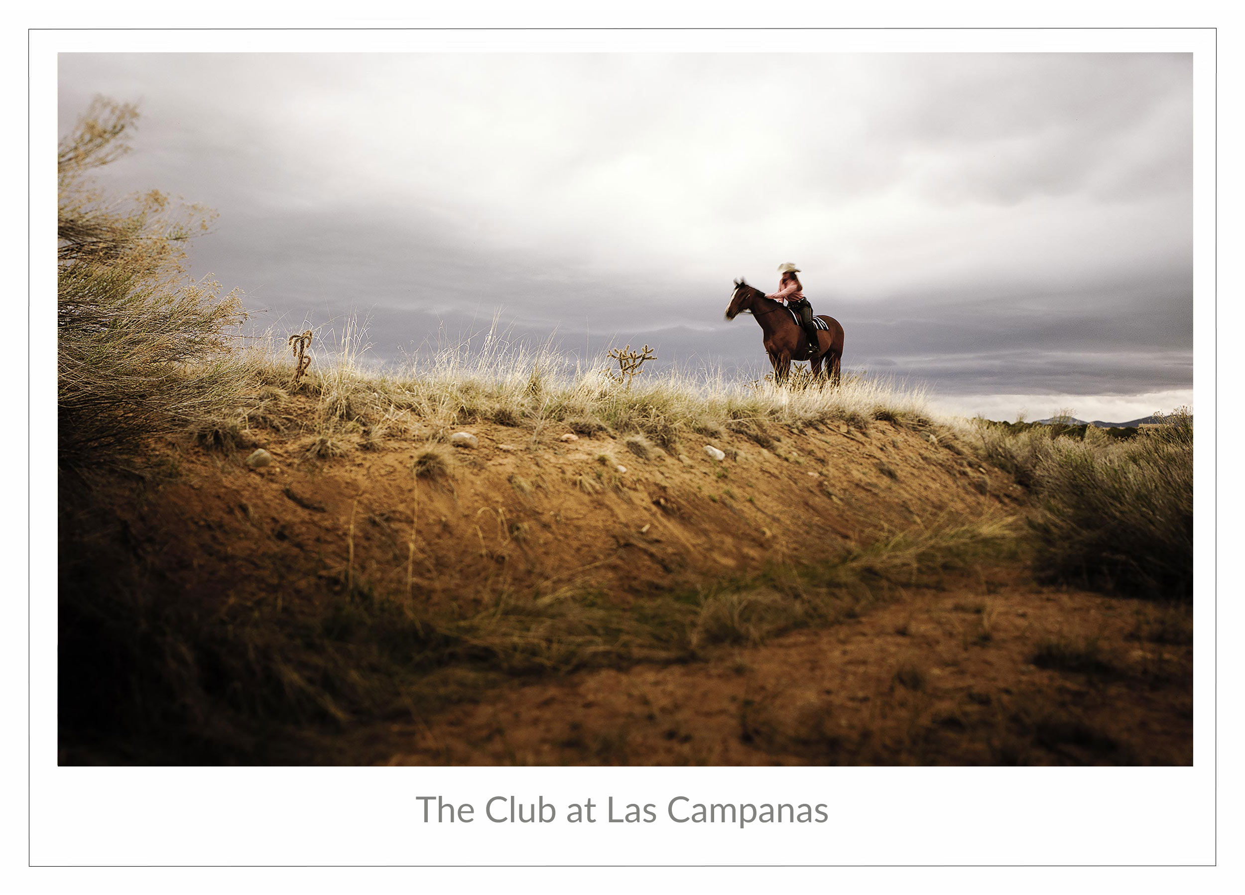 Advertising image for the Club at Las Campanas of a cowgirl on a horse in New Mexico