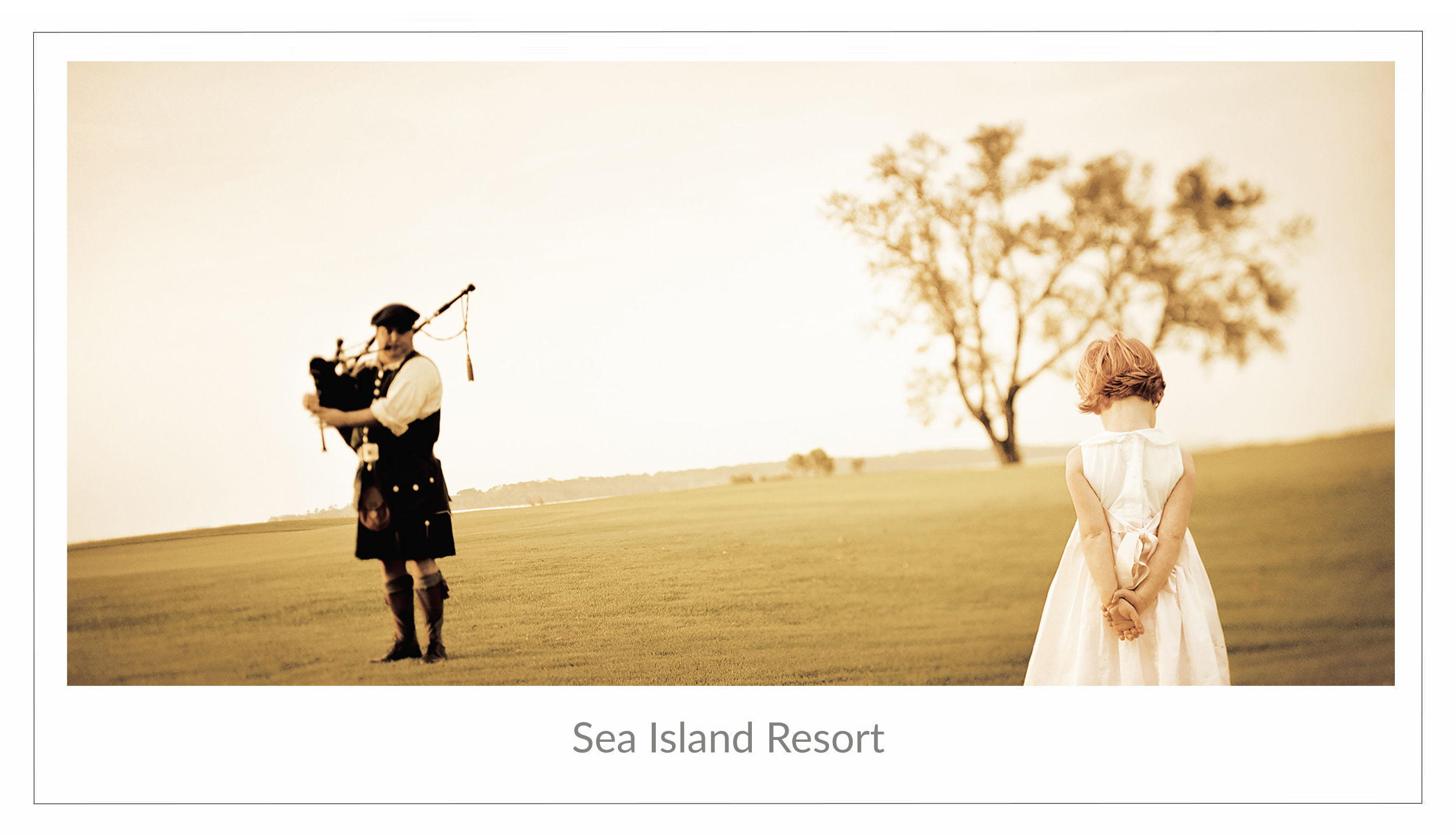Advertising image of a young girl listening to a bagpiper at Sea Island Resort in Sea Island, Georgia
