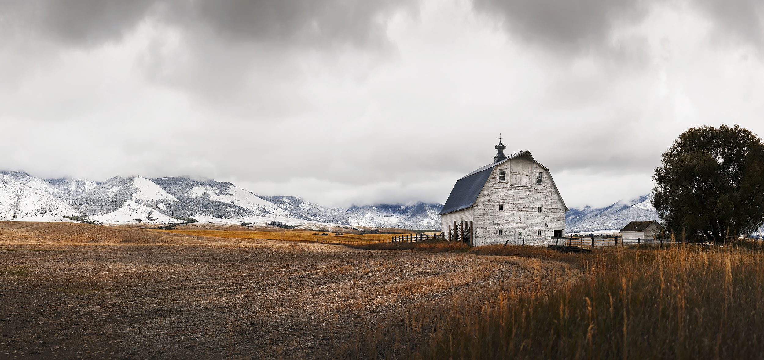 Classic white barn in the Gallatin Valley near Bozeman, Montana
