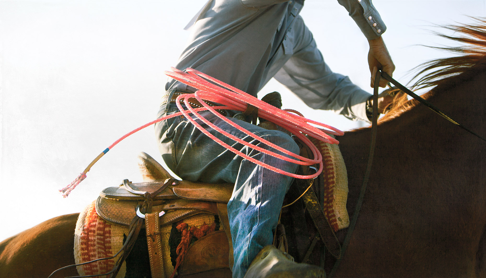 Detail of a cowboy riding his horse