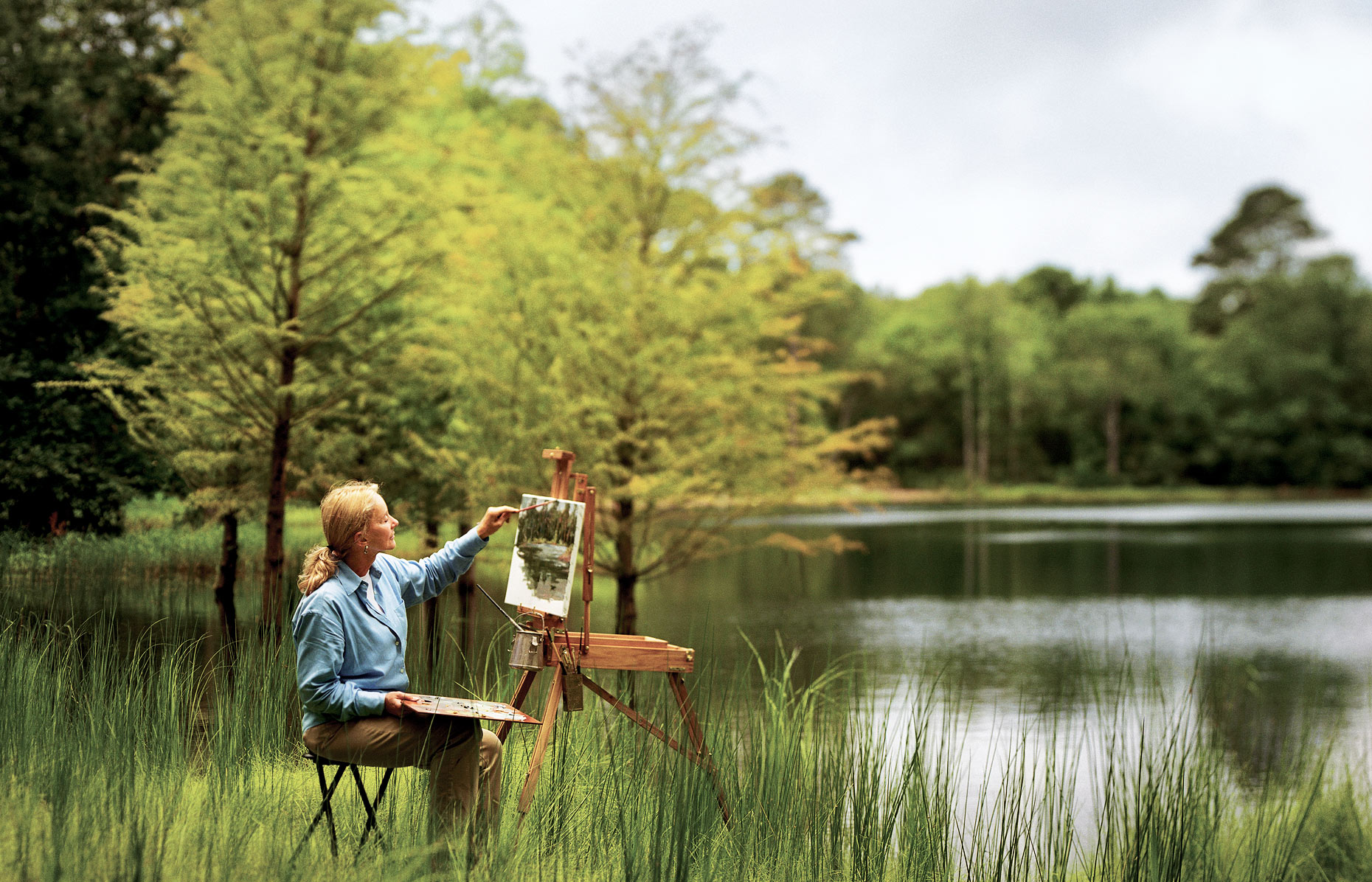 Woman Painting a Landscape - Sea island Resort
