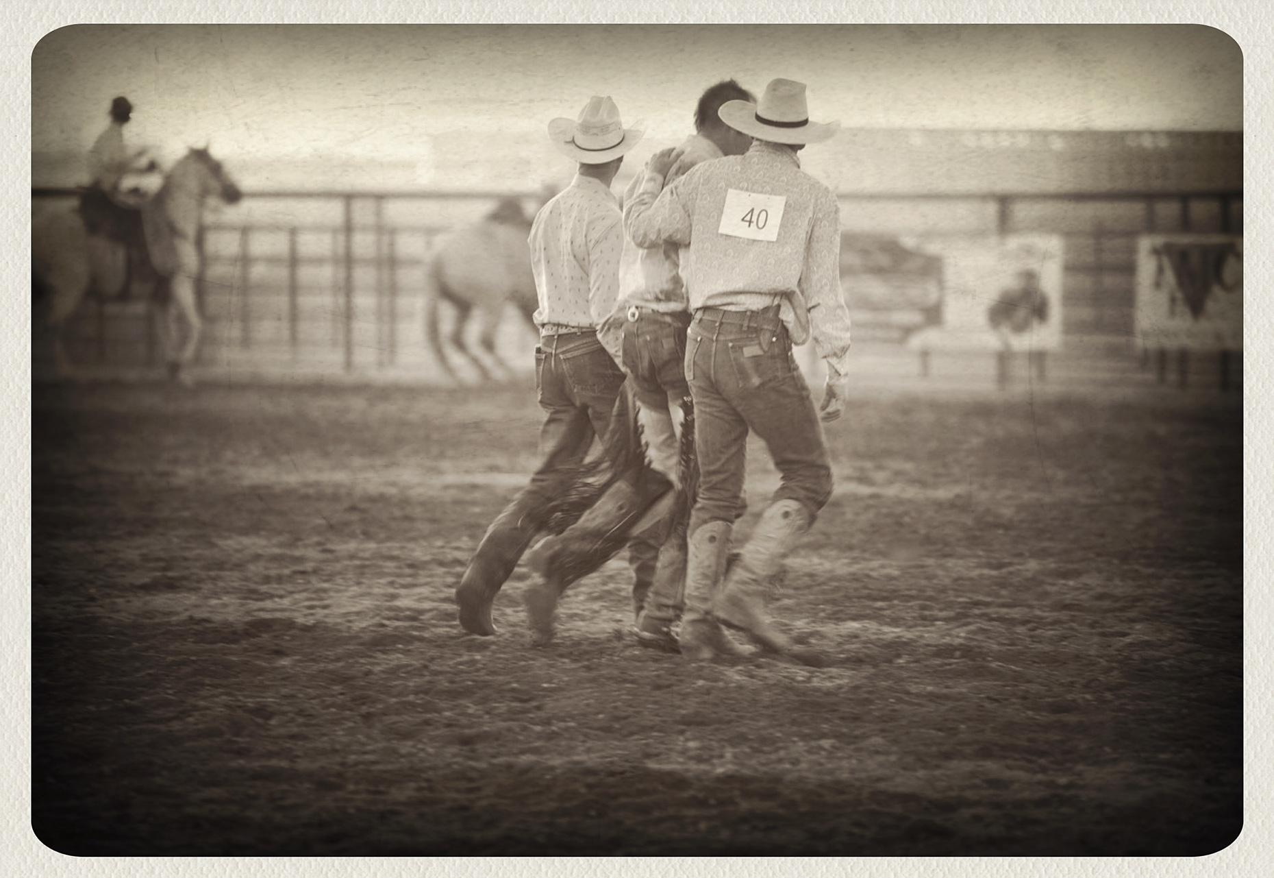 Cowboy in a rodeo arena in Bozeman, Montana