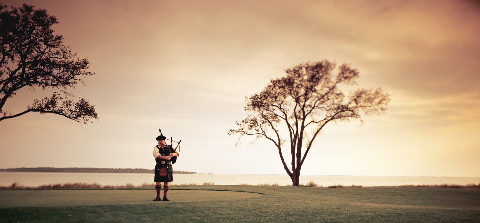 Bagpiper on Sea Island